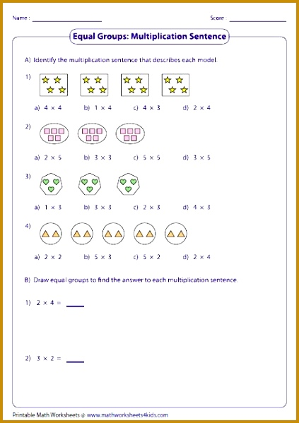 Variety of worksheets based on multiplication models such as equal groups rectangular arrays area models and number lines 599423