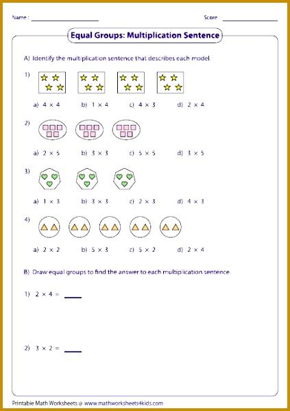 4th Grade Math Printable Worksheets 47483 Equal Groups & Multiplication Sentences Math