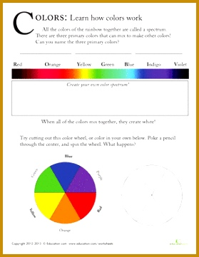 First Grade Science Worksheets Color Spectrum for Kids 361279