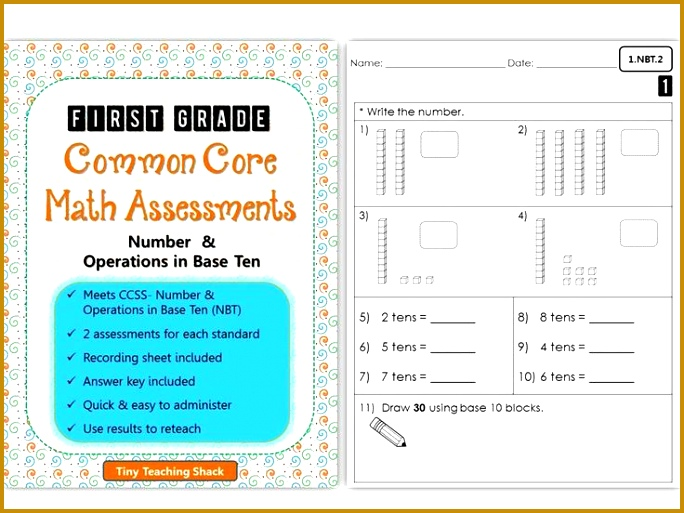 First Grade mon Core Math Assessments Number & Operations in Base Ten NBT 513684