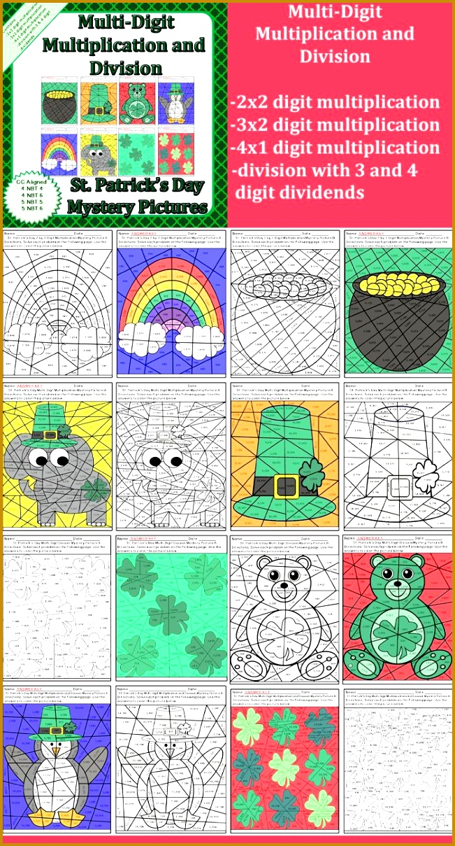 St Patrick s Day Multi Digit Multiplication and Division Worksheets 1209651