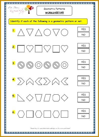 Grade 3 Maths Worksheets 14 9 Geometry Geometric Patterns in Shapes 556401