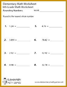 Sixth Grade Rounding Numbers Worksheet 283219