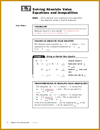 Solving Absolute Value Equations and Inequalities 429332