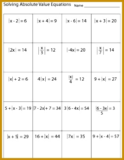 Solving Absolute Value Equations Worksheet 325252
