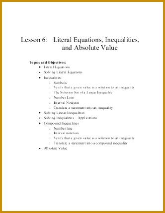 Lesson 6 Literal Equations Inequalities and Absolute Value 429332
