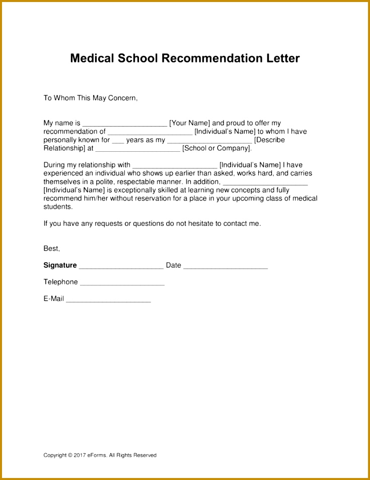 Free Medical School Letter of Re mendation Template with Samples Word PDF 952735