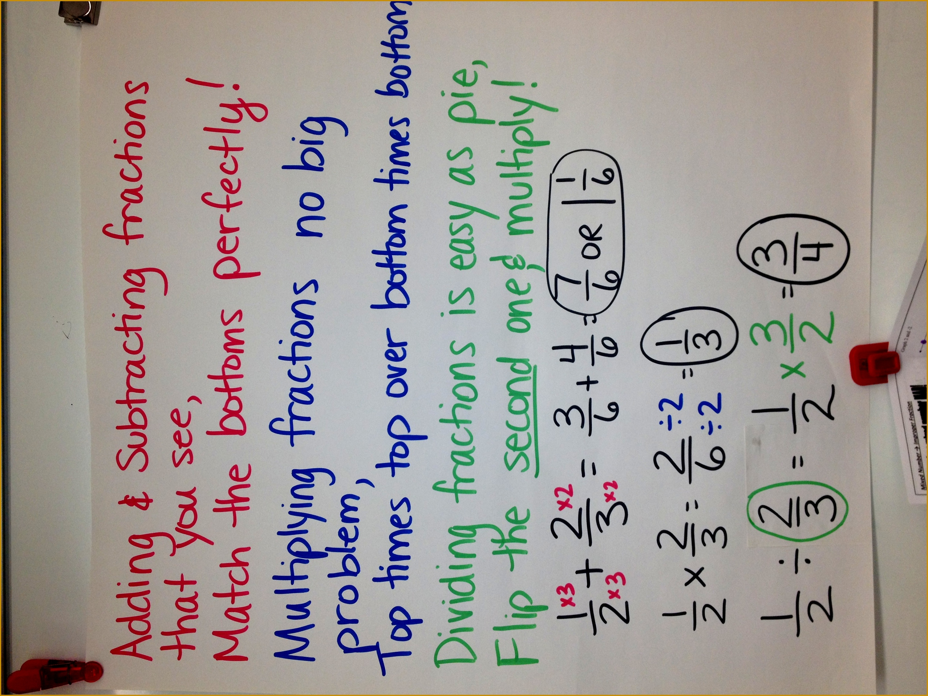 Fractions anchor chart Verse poem song to help kids with adding subtracting 22763035