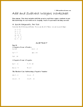 Add and Subtract Integers Worksheet Math Warehouse 429332