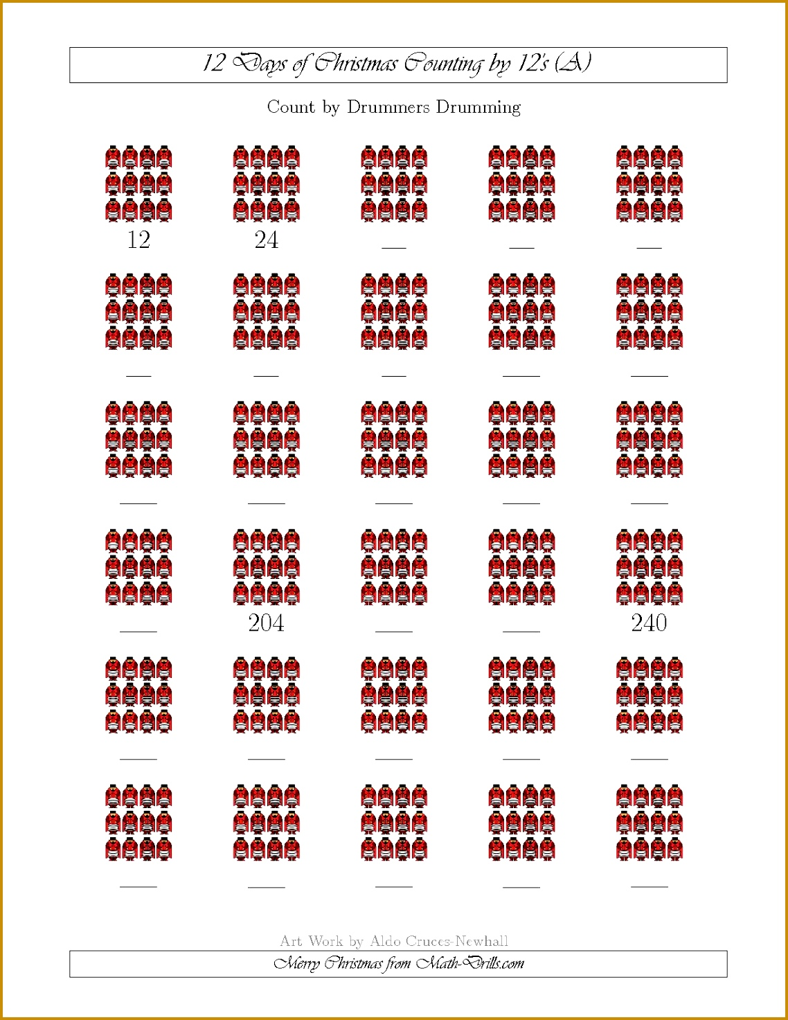12 Days of Christmas Counting by Drummers Drumming A Math Worksheet freemath 14731138