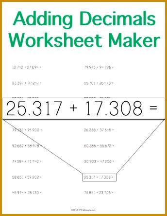 Customizable and Printable Adding Decimals Worksheet Horizontal Format 444344