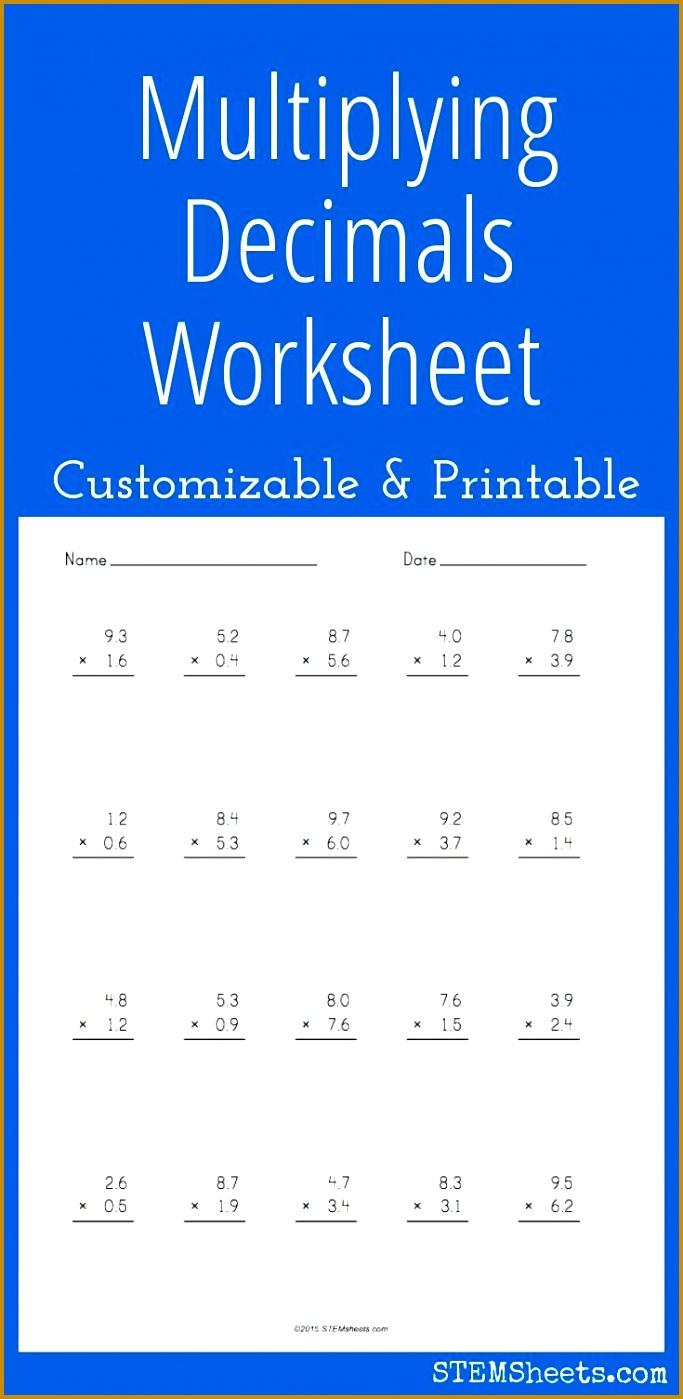 Multiplying Decimals Worksheet Customizable and Printable 1399683