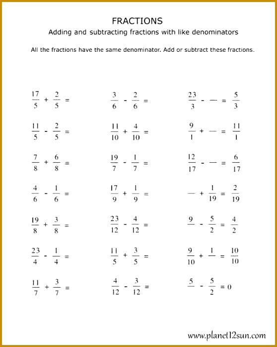 Adding and Subtracting Fractions with the Same Denominator 558697