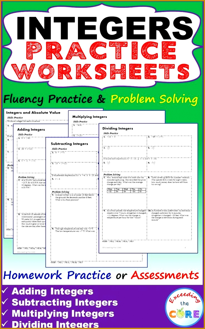 INTEGERS Homework Practice Worksheets Skills Practice with Word Problems 5 INTEGER practice worksheets 1094684