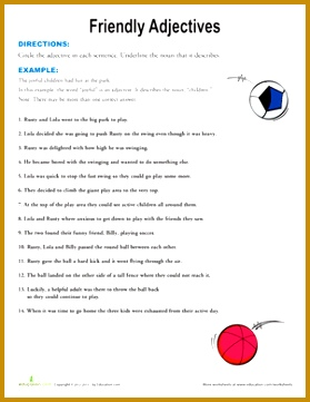 Second Grade Grammar Worksheets Friendly Adjectives 361279