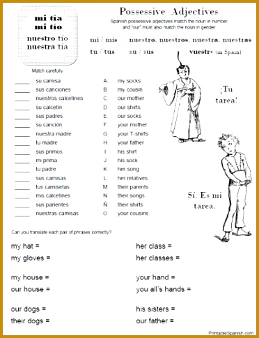 Possessive Adjectives Worksheet 1 FREE at PrintableSpanish 484372