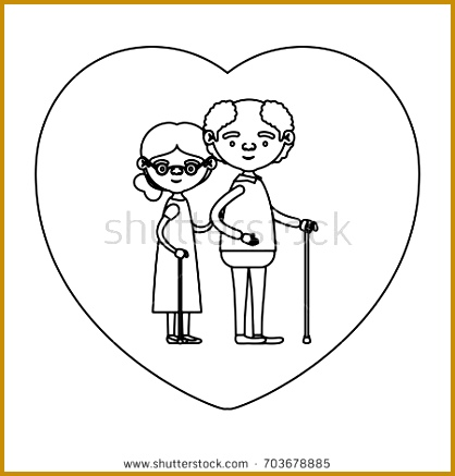 sketch silhouette of heart shape greeting card with caricature full body elderly couple embraced grandfather in 437418