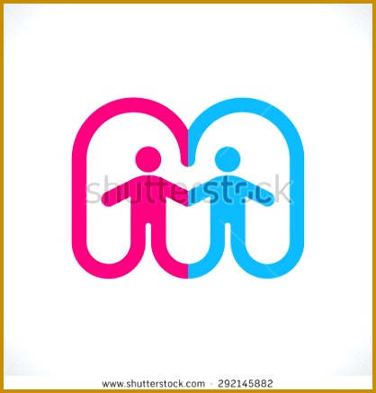 The letter M of two halves woman and men logo template Symbolize the 437418