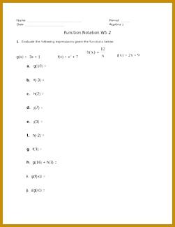 Function Notation Worksheet 2 325251
