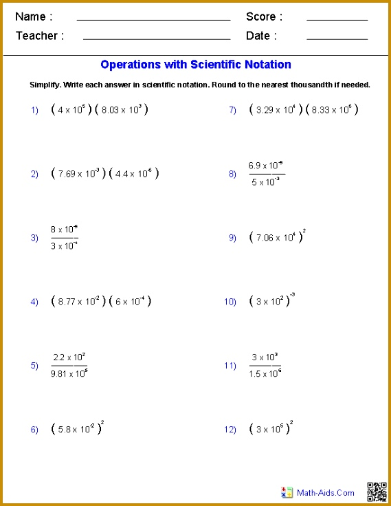 Scientific Notation Worksheets 736569
