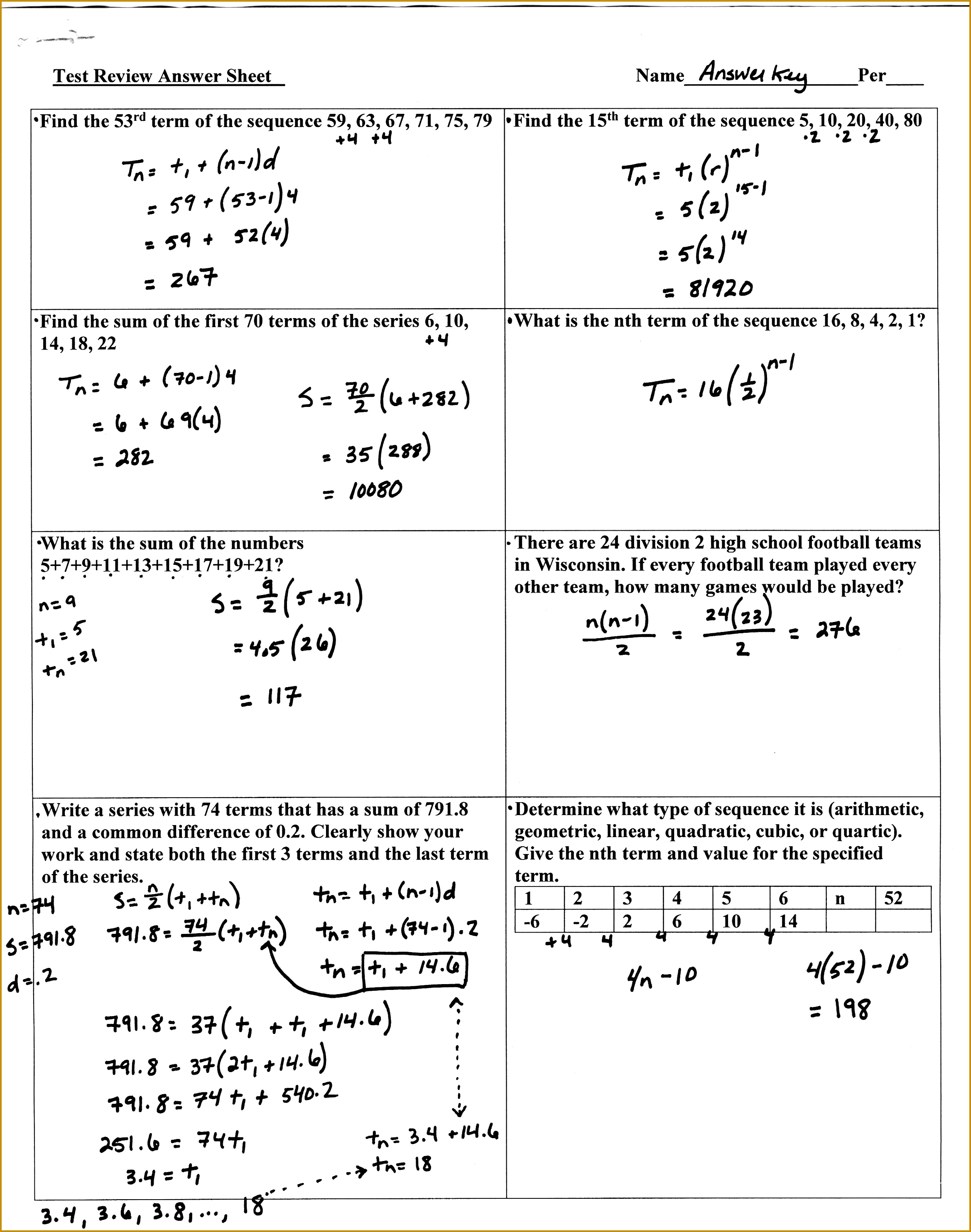 Answer Key 3 1 7 3 sequences and series review page 1 23382967