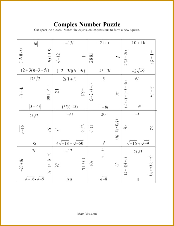 Simplifying Imaginary Numbers Worksheet Worksheets for all Download and Worksheets 595770