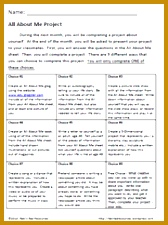 All About Me Project Sheet 225168