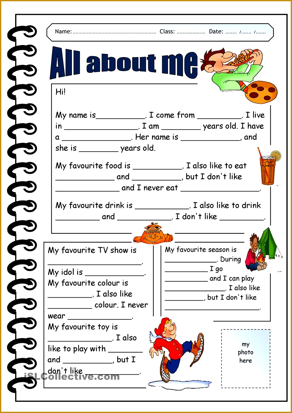 all about me printable worksheets Google Search 1339946