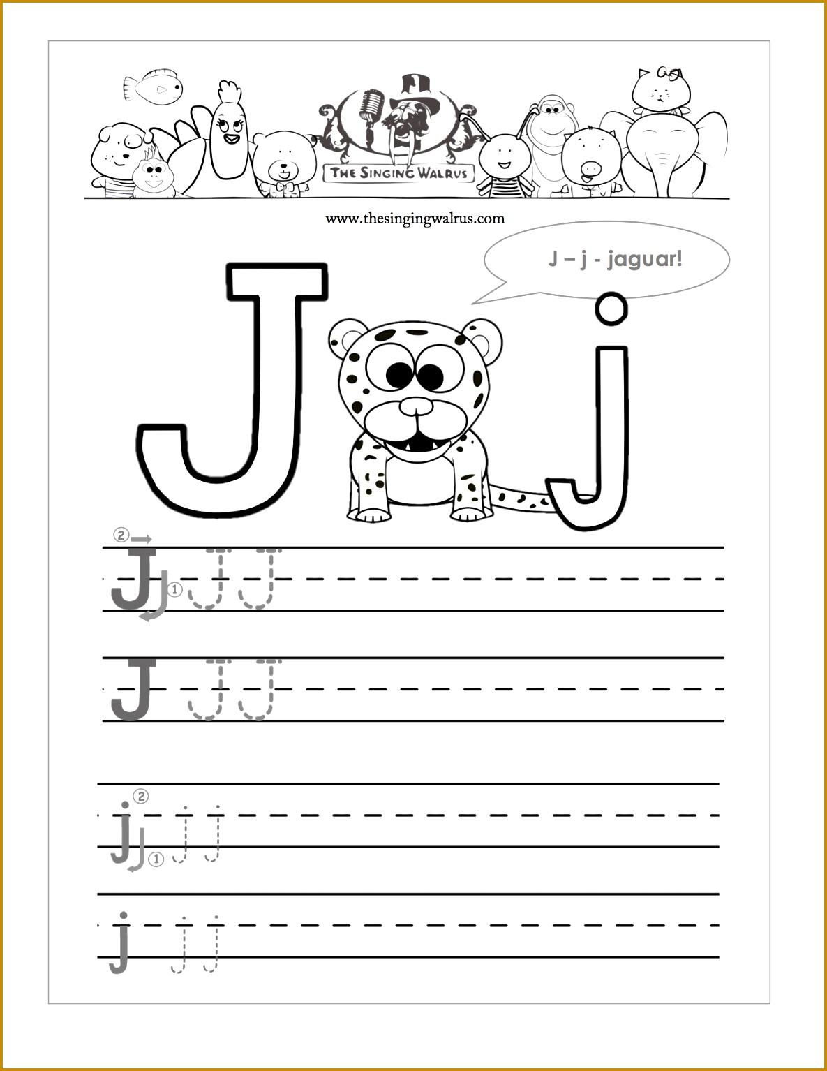 Free Letter J Alphabet Learning Worksheet for Preschool 15341185