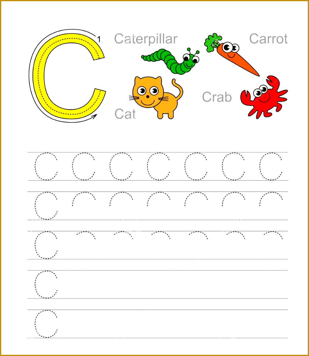 Vector exercise illustrated alphabet Learn handwriting Tracing worksheet for letter C Stock Vector 12091049