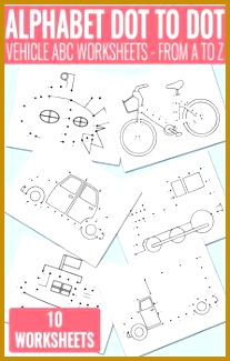 Vehicle Dot to Dot Alphabet Worksheets 325207