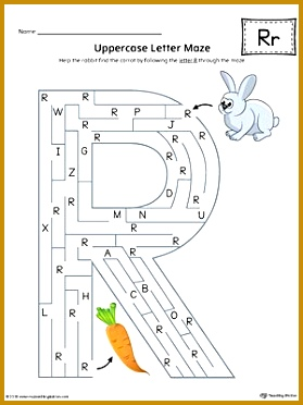 Uppercase Letter R Maze Worksheet Color 372279