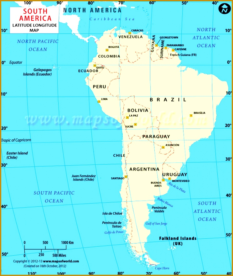 South American Lat Long Map 881744