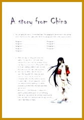 The text is about a beautiful love story set in ancient China Students have to reorder paragraphs find synonyms and fill in a crossword 238167
