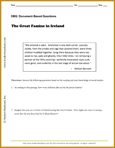 """The Great Famine in Ireland"" by William Bennett Free printable DBQ worksheet for 511396"