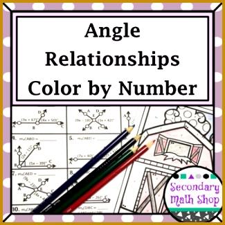 Angle Relationships Color By Number Worksheet 325325