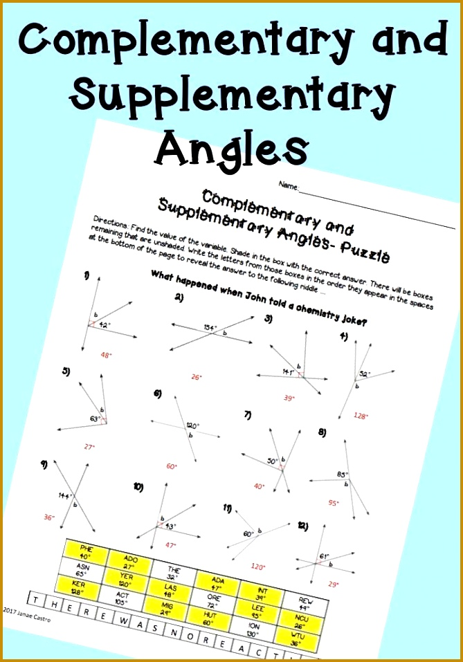 plementary and supplementary angles puzzle worksheet for high school geometry or algebra class Angles activity 669957