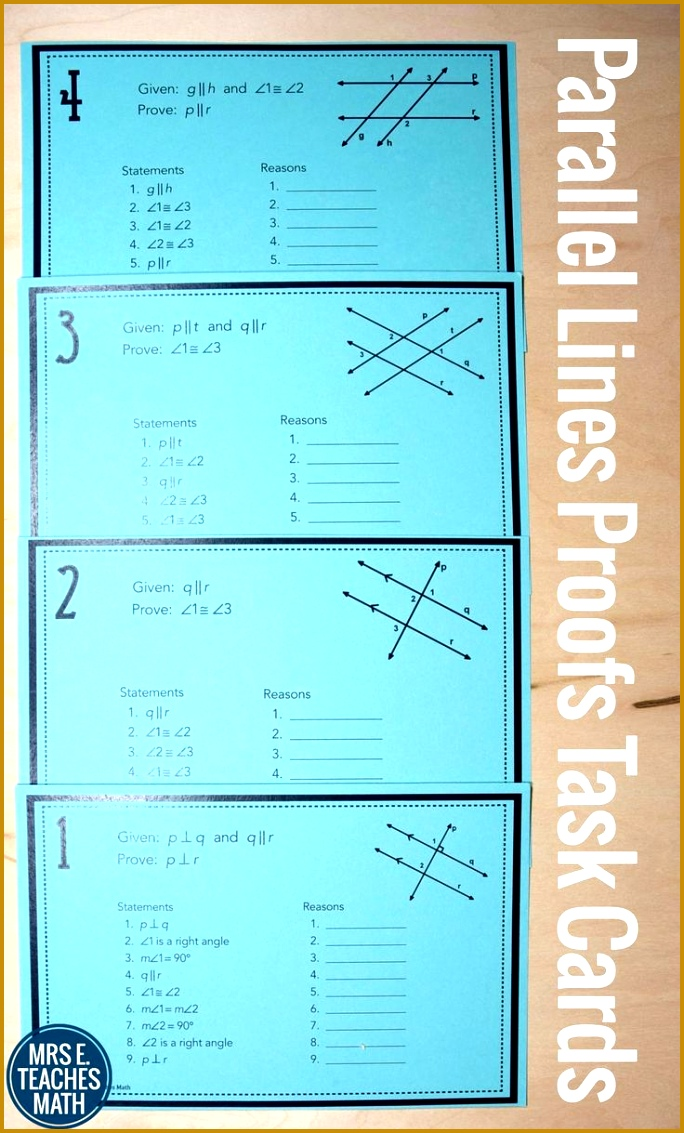 Parallel Lines Proofs Task Cards 1133684