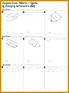 FREE Surface Area and Volume of Prisms with Effects of Changing Dimensions Worksheet 297223