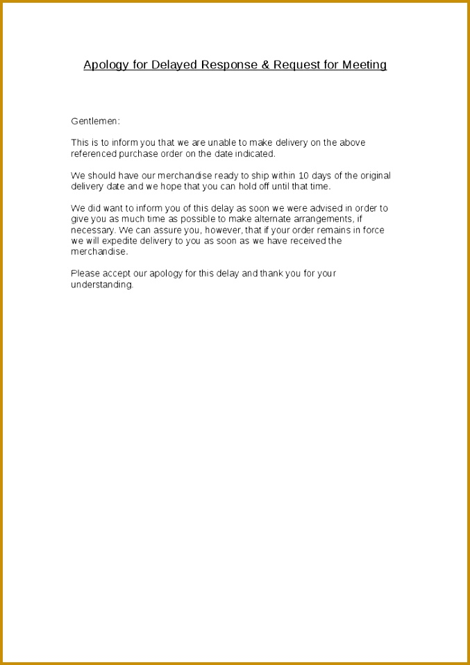 6 apology letter delay in delivery example