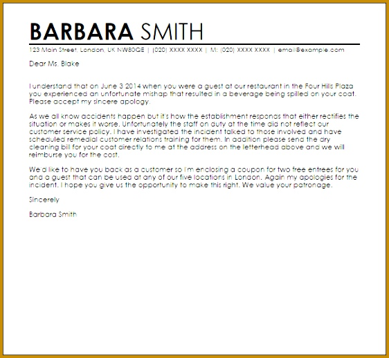 3 apology letter for bad service sample