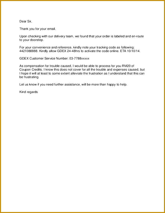 apology letter to customer regarding delivery delay for purchased 876677