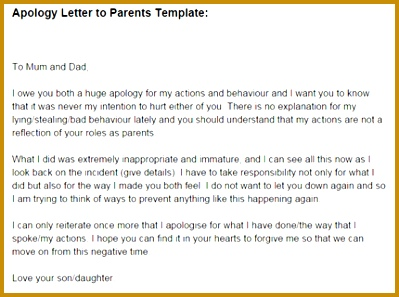 Letter of Apology to Parents 399297