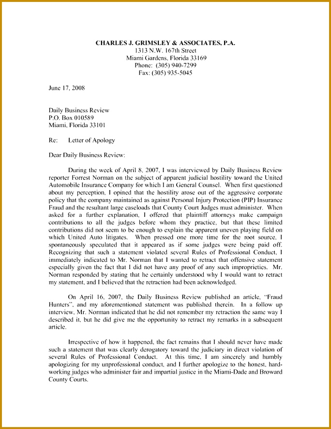 apology letter that well written often the key business best general examples nice 885684