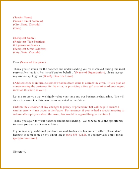 Sincere apology letter issue picture professional customer in letters 10 word format 678558
