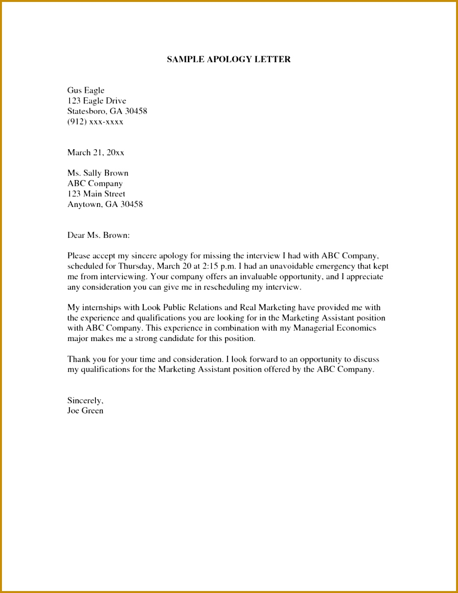 Example Apology Letter Speculative Job Application Cover Letter 1212936