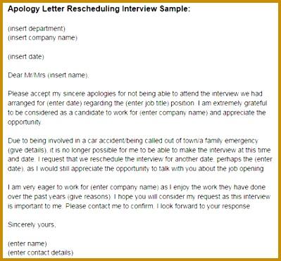 reschedule interview letter