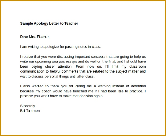 Sample Apology Letter To Teacher Download Free Documents In 446544