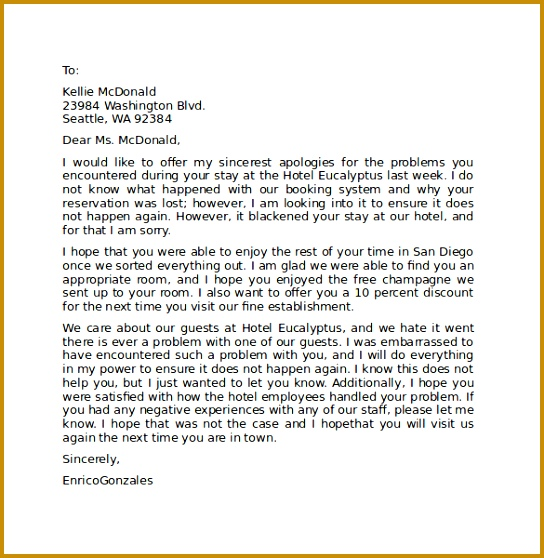 Hotel Apology Letter to Guest Sample 558544