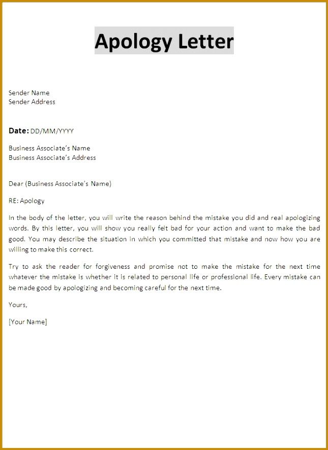 Professional Apology Letter Free sample letters of apology for personal and professional situations Also 884645